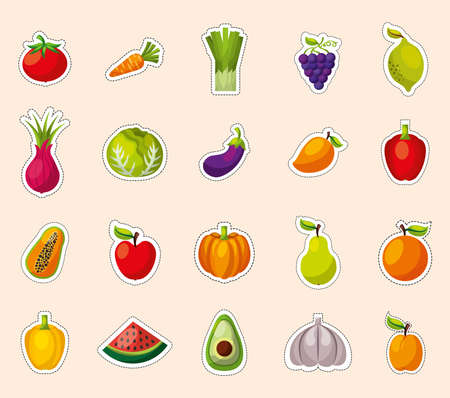 bundle of set fresh fruits and vegetables vector illustration design
