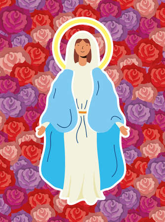 miraculous virgin assumption of mary with roses background vector illustration design