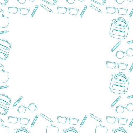 set of school supplies education square frame vector illustration design