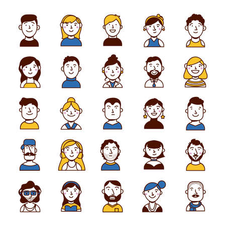 bundle of people group characters vector illustration design