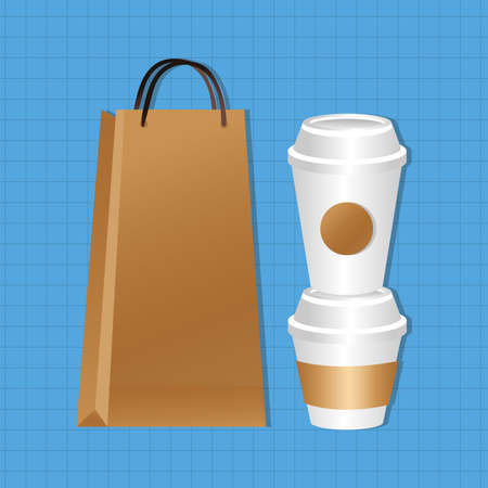 mockup paper bag and cups packaging gradient style style vector illustration design