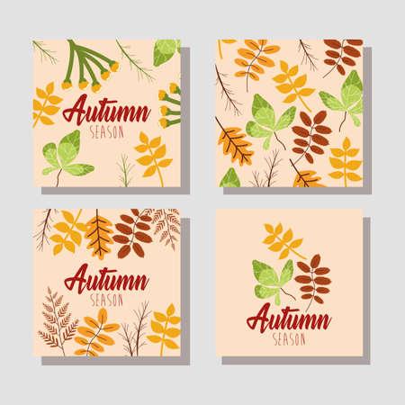 hello autumn season bundle of cards vector illustration design