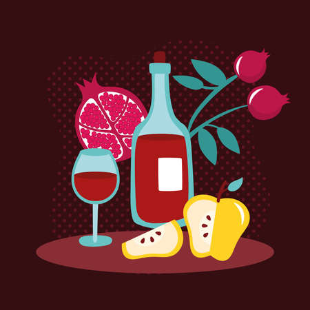 happy rosh hashanah with wine drink and fruits vector illustration design