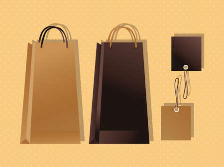 mockup paper bags colors packagings gradient vector illustration design  イラスト・ベクター素材
