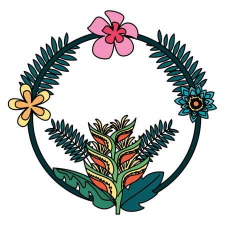 tropical wreath flowers leaves frame decoration vector illustration