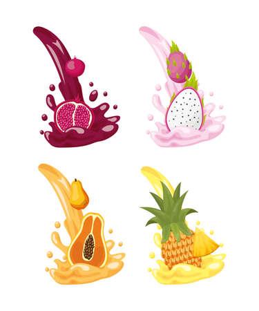 tropical fruits set pomegranate dragon fruit pineapple papaya splashes on white background vector illustration Ilustracja