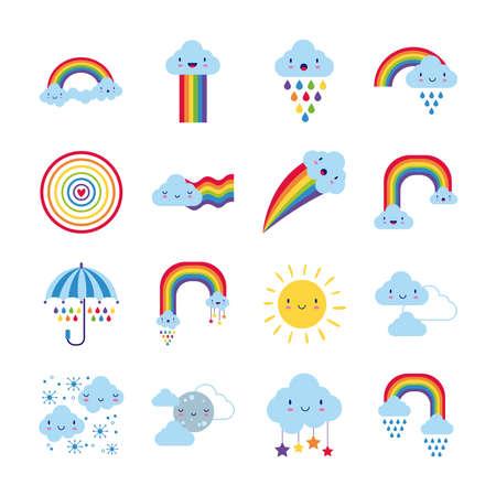 bundle of sixteen rainbows and kawaii characters icons vector illustration design