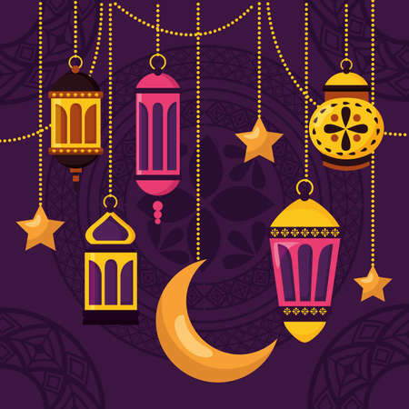 moon lantern star celebration eid mubarak vector illustration