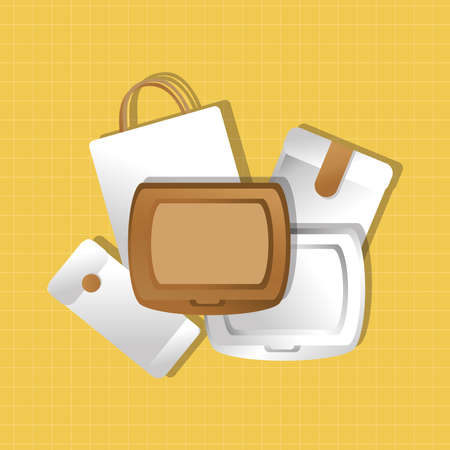 mockup paper packings set and food boxes gradient style vector illustration design  イラスト・ベクター素材