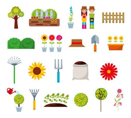 gardeners and garden bundle icons vector illustration design 矢量图像
