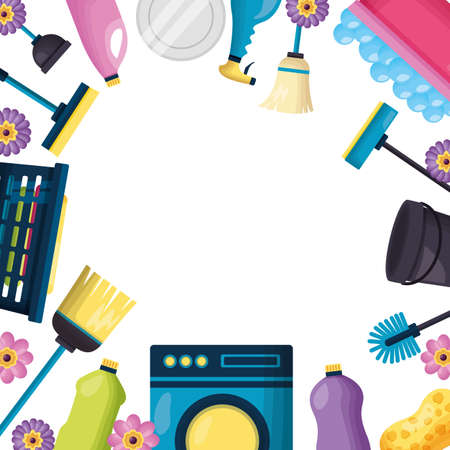 washing machine broom mop liquid product spring cleaning tools vector illustration
