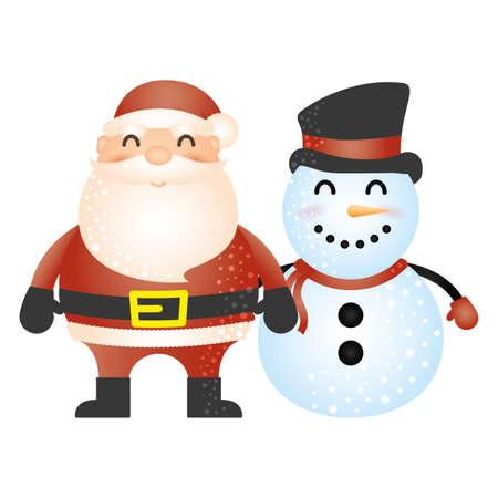 merry christmas cute snowman with santa claus vector illustration design Vector Illustration