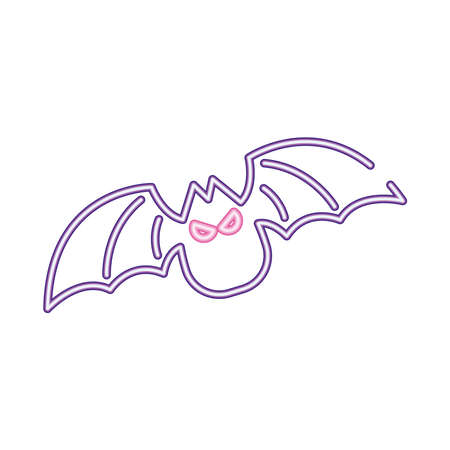 halloween bat flying neon style icon vector illustration design
