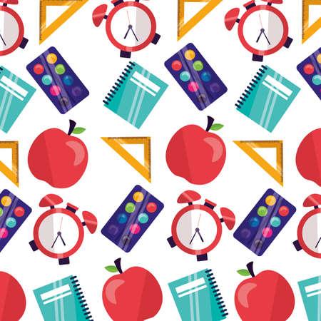 back to school background clock apple ruler book vector illustration