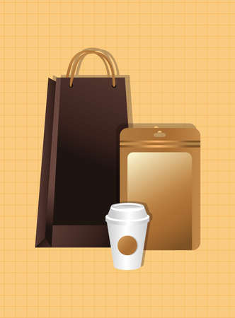 mockup paper bags and cups gradient style vector illustration design