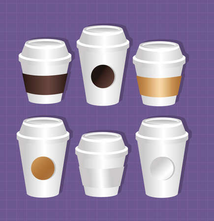 mockup paper coffee cups packaging gradient style vector illustration design