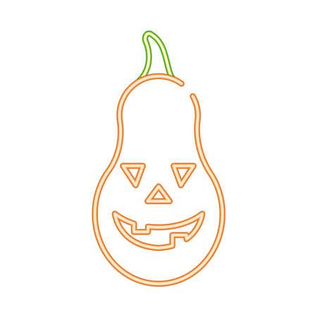halloween pumpkin face style neon icon vector illustration design 矢量图像