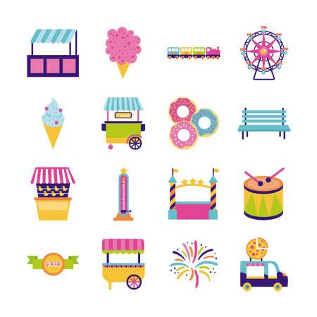bundle of fair entertainment set icons vector illustration design Vektoros illusztráció