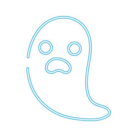 halloween ghost style neon icon vector illustration design