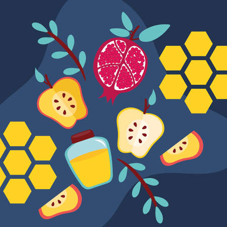 happy rosh hashanah with honey pot and fruits vector illustration design