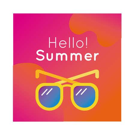 hello summer colorful banner with sunglasses vector illustration design Illusztráció