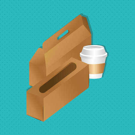 mockup paper boxes and cup packaging gradient style vector illustration design  イラスト・ベクター素材