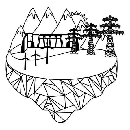 eco friendly hydroelectric wind turbine energy tower landscape vector illustration Vettoriali