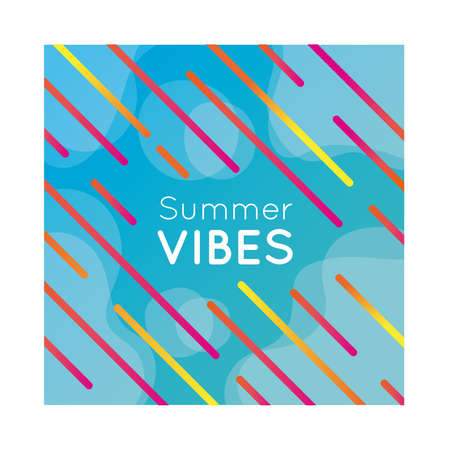 summer vibes colorful banner with lines vector illustration design