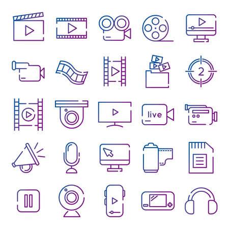 bundle of video content gradient style icon vector illustration design