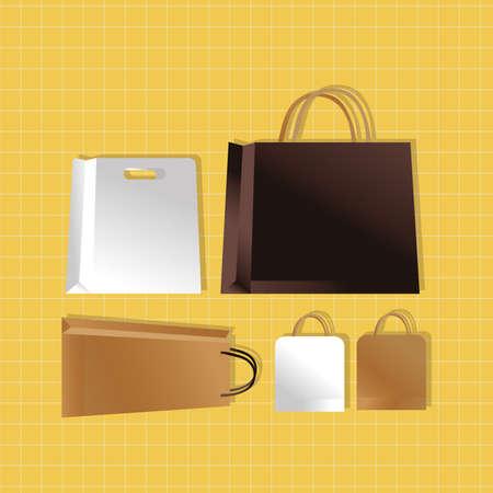mockup paper bags set colors packagings gradient style vector illustration design