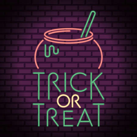 trick or treat halloween lettering in neon light with cauldron vector illustration design