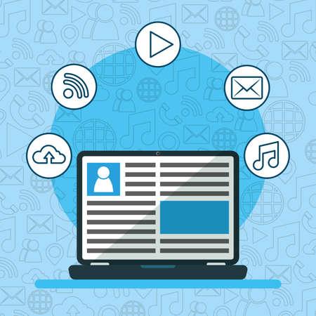 laptop content influencer web social network media design vector illustration Ilustracja