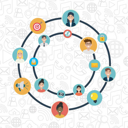 people connection and communication social network media vector illustration
