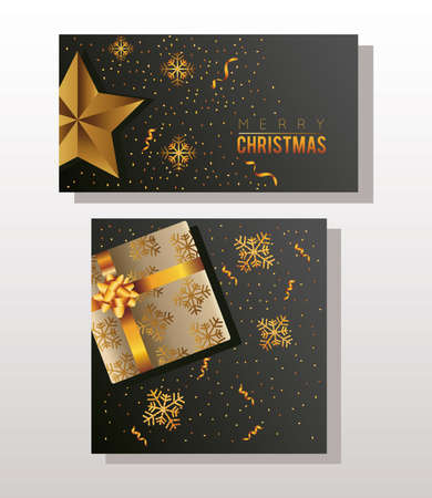 happy merry christmas celebration with golden gift and star vector illustration design
