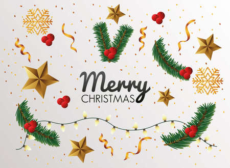 happy merry christmas celebration with branches and golden stars vector illustration design