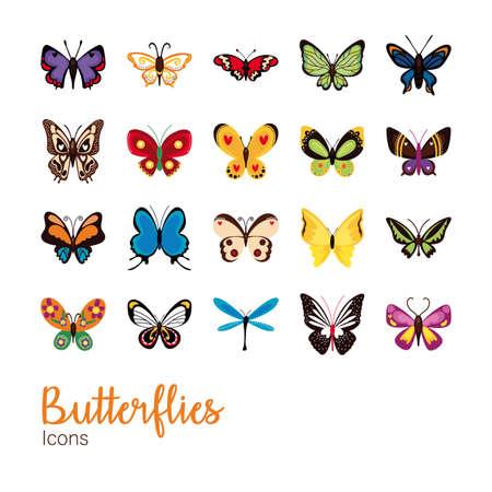 bundle of butterflies set icons vector illustration design