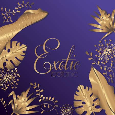 luxury exotic botany golden decoration vector illustration design Illusztráció