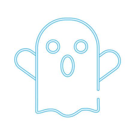 halloween ghost neon style icon vector illustration design