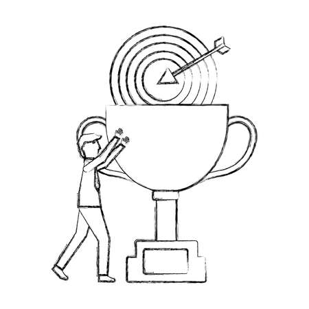 businessman success trophy and target vector illustration Ilustração