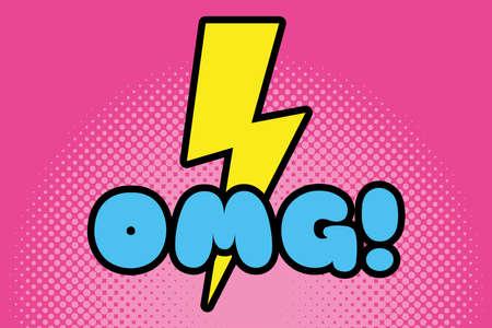 omg word and ray pop art style icon vector illustration design Ilustracje wektorowe