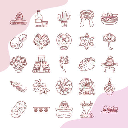 bundle of twenty five mexican ethnicity set collection icons vector illustration design