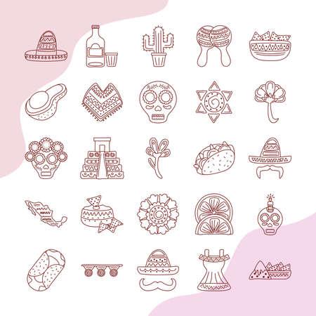 bundle of twenty five mexican ethnicity set collection icons vector illustration design