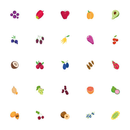 bundle of exotic fruits flat style icons vector illustration design