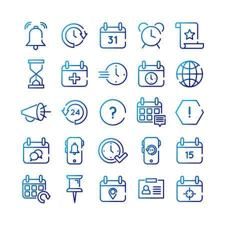 bundle of twenty five calendars set collection icons vector illustration design