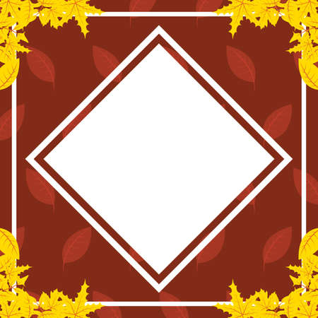 autumn leaves foliage rhombus frame vector illustration design