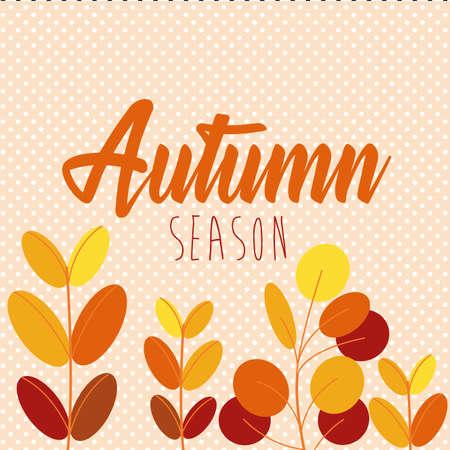 hello autumn season leaves and calligraphy vector illustration design