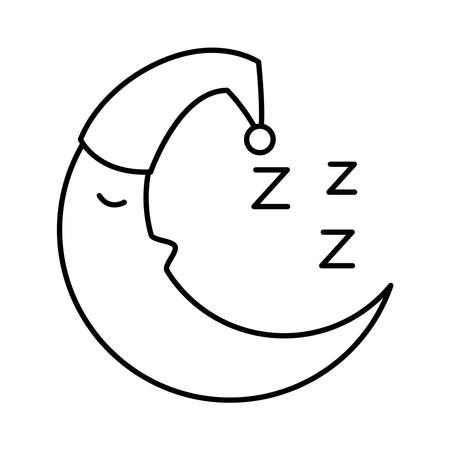 moon with sleep hat and Insomnia z letters line style icon vector illustration design