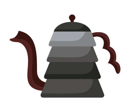 coffee kettle utensil flat style icon vector illustration design  イラスト・ベクター素材
