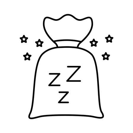 Insomnia powders bag and z letters line style icon vector illustration design