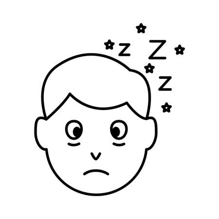 head man with Insomnia z letters line style icon vector illustration design 矢量图像
